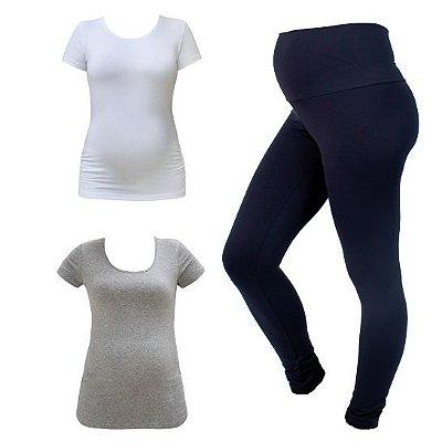Kit Gestante - 1 Camiseta Estica-e-Vai Branca + 1 Camiseta Estica-e-Vai Mescla + 1 Legging Gestante Maria Preta