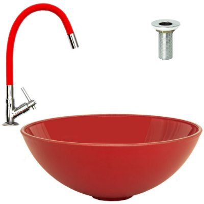 Cuba de Vidro de Sobrepor Vermelha + Torneira Vermelha Silicone + Válvula Metal