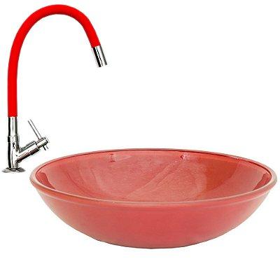 Cuba de Vidro de Sobrepor 35 cm Vermelha + Torneira Vermelha Silicone