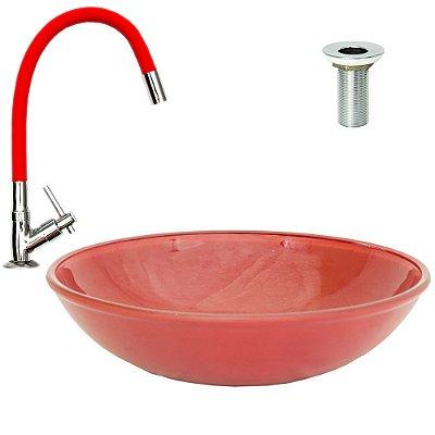 Cuba de Vidro de Sobrepor 35 cm Vermelha + Torneira Vermelha Silicone + Válvula Metal