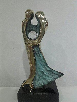 """""""Viver em sintonia"""" 18,00 cm - escultura em bronze polido e patinado c/mensagem,   e cristal SWAROVSKI"""