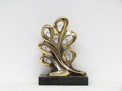 ¨Virtudes¨- Escultura de bronze c/7 cristais SWAROVSKI,  - 17 cm, com mensagem