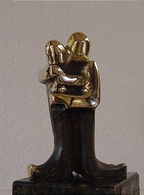 ¨União¨- escultura de bronze - 11 cm,   com mensagem