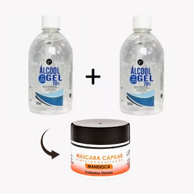 KIT ÁLCOOL GEL - 500mL (2 UNIDADES) + MASCARA DE MANDIOCA