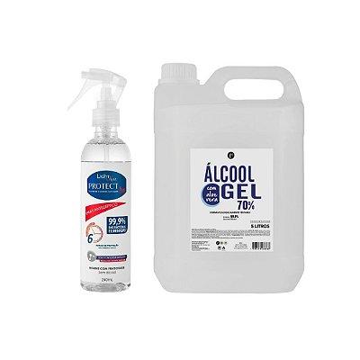 Álcool  em gel 5L + Spray Bacterecida