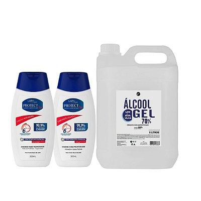 Kit Álcool em gel 5L + Loção hidratante e sabonete líquido Bacterecida