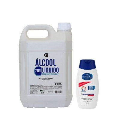 Álcool Líquido 5L + Sabonete Líquido Protec bac