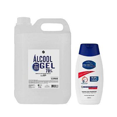 Álcool em gel 70% 5L + Loção Protec Bac 200mL