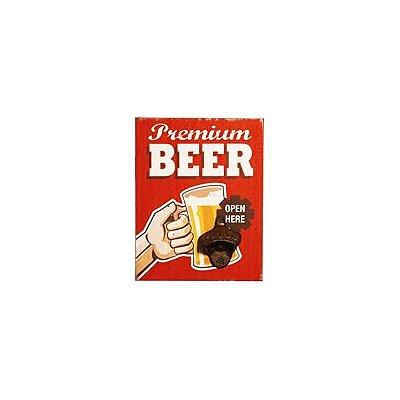 Placa decorativa com abridor de garrafa - Premium beer
