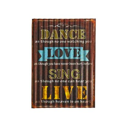 Placa decorativa  - Dance, love, sing, live