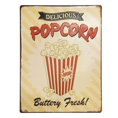Placa decorativa - Delicious popcorn