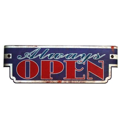 Placa decorativa - Always open