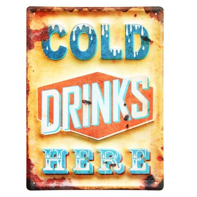 Placa decorativa - Cold drinks here