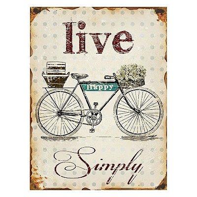 Placa decorativa - Live simply