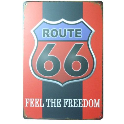 Placa decorativa - Route 66 feel the freedom
