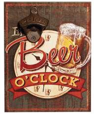 Placa decorativa com abridor de garrafa - Beer o'clock