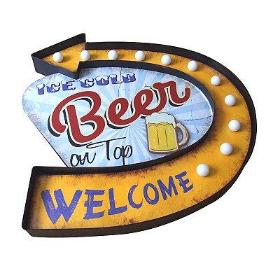 Placa decorativa com led - Ice cold beer