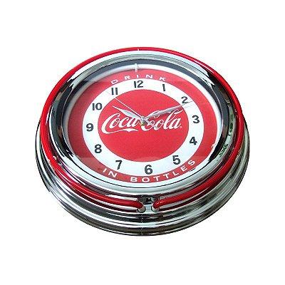 Relógio de parede com neon Coca-Cola