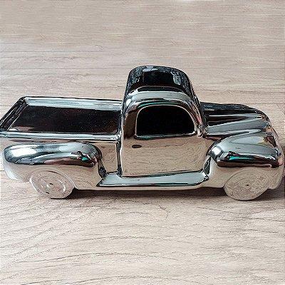 Miniatura caminhonete retrô cerâmica prata