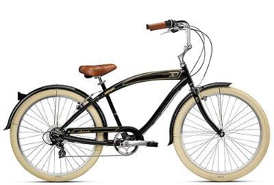 Bicicleta retrô Nirve - Classic men's gloss black 7 marchas