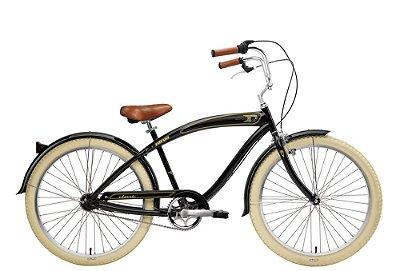 Bicicleta retrô Nirve - Classic men's gloss black 3 marchas