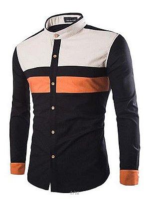 540ce1a723 Camisa Social Patchwork Colarinho Clerical