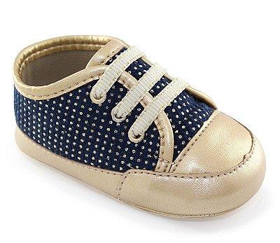 Tenis Azul e Bolinhas de Bebê de Amarrar 3 furos