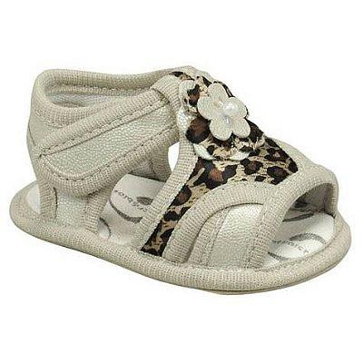 Sandália de Bebê Oncinha com Flor e Velcro