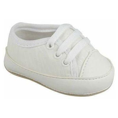 Tenis Branco de Bebê de Amarrar 3 furos