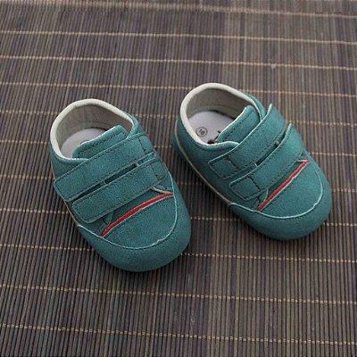 Sapatinho de Bebê 2 Tiras e Velcro - Verde - Turma do Pé