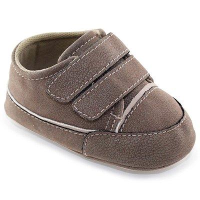 Sapatinho de Bebê 2 Tiras e Velcro - Marrom - Turma do Pé