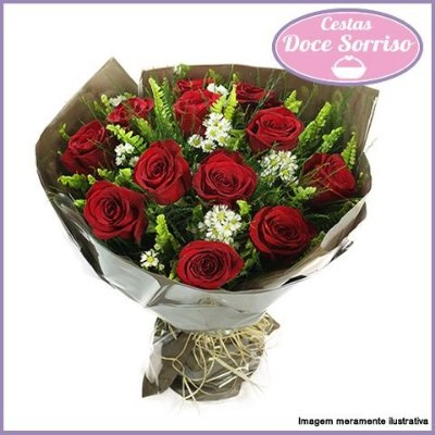 Item adicional - Buquê de 12 Rosas Vermelhas Tradicionais