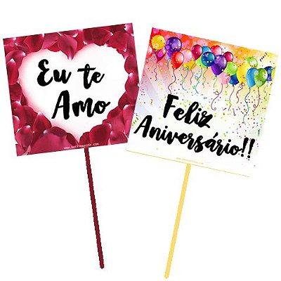 """Item adicional - Plaquinha """"Eu Te Amo"""" ou """"Feliz Aniversário!"""""""