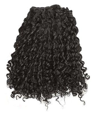 Mega hair costurado mispira cacheado - cor #1B preto natural - humano