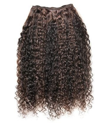Mega hair costurado mispira cacheado com mechas - cor  #0/6 mechas natural / castanho claro