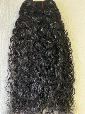 Mega hair costurado mispira ondulado intenso - cor #1B preto natural