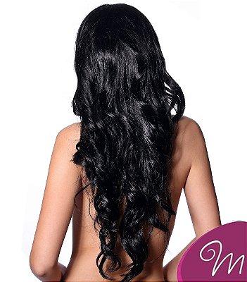 Mega hair tic-tac (2 faixas) mispira ondulado - cor #1b preto natural - humano