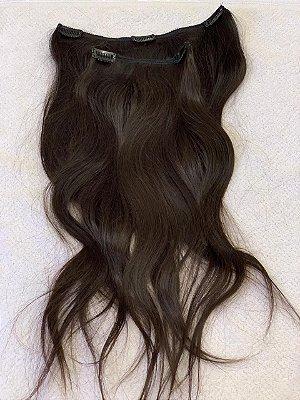 Mega hair tic-tac (2 faixas) mispira ondulado - cor #2 castanho natural - humano