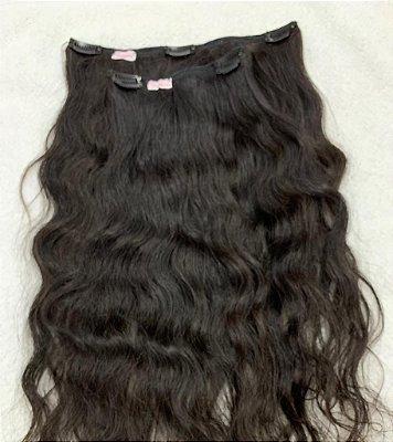 Mega hair tic-tac (2 faixas) mispira cacheado - cor #1b preto natural - humano
