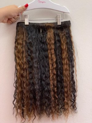 Mega hair tic-tac (2 faixas) mispira cacheado com mechas - cor #0/6 mechas natural /castanho claro - humano
