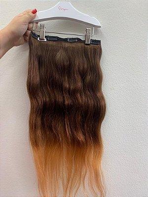 Mega hair tic-tac mispira ondulado - ombré castanho/alaranjado - humano