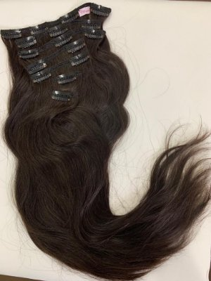 Mega hair tic-tac (8 faixas) mispira liso - cor #4 castanho escuro - humano