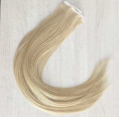 Mega hair em fita adesiva mispira SUPER PREMIUM liso - cor #60 loiro platinado – humano - 20 fitas