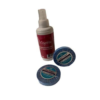 Combo de fita adesiva em rolo para mega hair e prótese capilar - azul americana lace front 5,48 metros + grátis 1 loção removedora para mega hair 150ml.