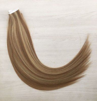 Mega hair em fita adesiva mispira SUPER PREMIUM liso - cor #10/613 mechas loiro escuro/loiro ultra claro – humano - 12 fitas