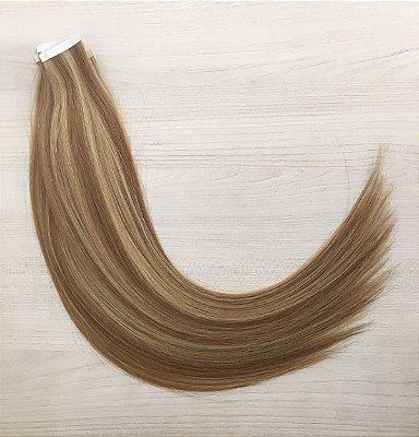 Mega hair em fita adesiva mispira SUPER PREMIUM liso - cor #10/613 mechas loiro escuro/loiro ultra claro – humano - 20 fitas