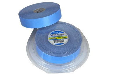 Fita adesiva em rolo para mega hair e prótese capilar - azul americana lace front – 36m x 2,5