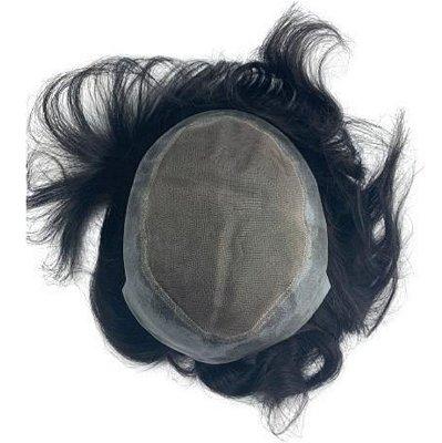 Prótese Capilar Tela + Silicone Cabelo Humano #1b Preto - 10cm X 20cm