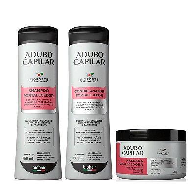 Shampoo + Condicionador + Máscara Fortalecedora Adubo Capilar