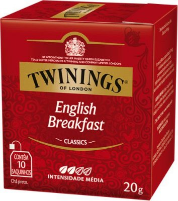 Twinings of London chá preto English Breakfast caixa com 10 sachês